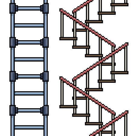 set of pixel art isolated stair loop Illustration