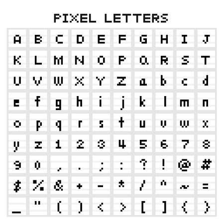 set of pixel art isolated pixel typeface 矢量图像