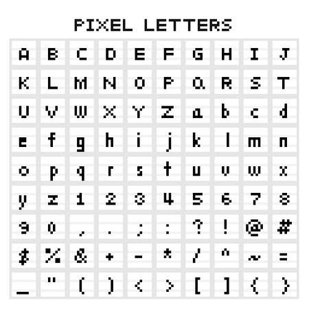 set of pixel art isolated pixel typeface Illustration