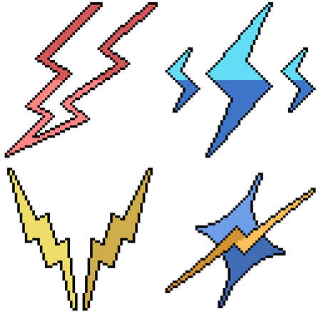 set of pixel art isolated lightning symbol