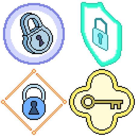 set of pixel art isolated key lock protection