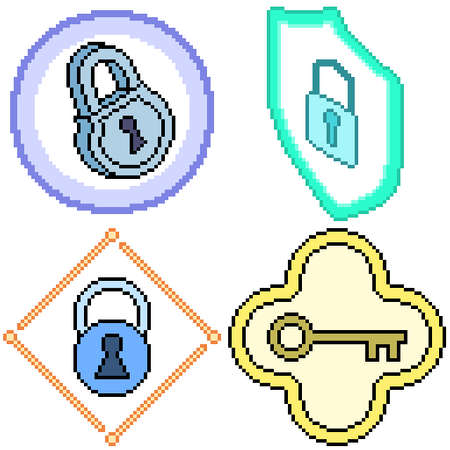 set of pixel art isolated key lock protection