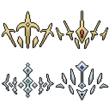 set of pixel art isolated crown symbol