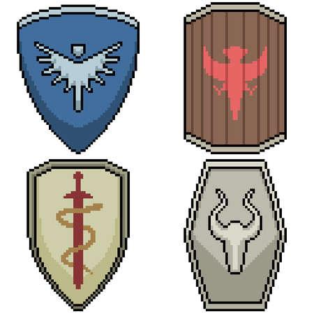 set of pixel art isolated knight shield 矢量图像