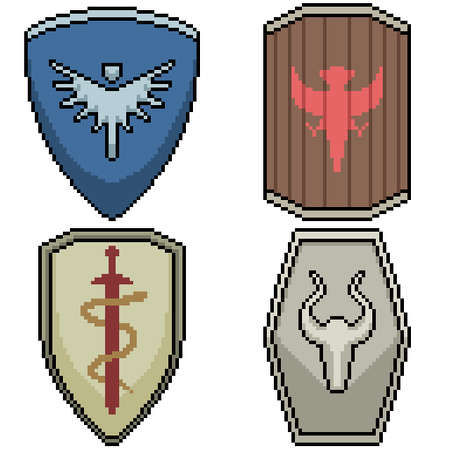 set of pixel art isolated knight shield Illustration