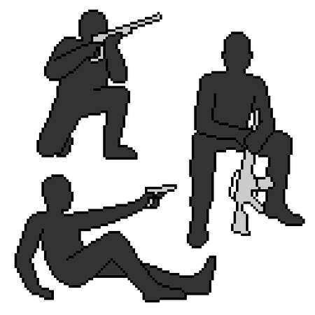 set of pixel art isolated silhouette man with gun 矢量图像