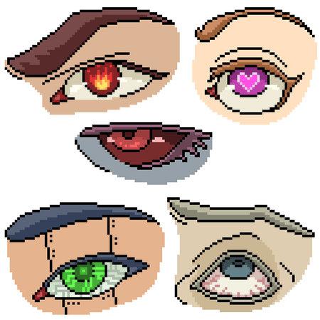 set of pixel art isolated fancy eye
