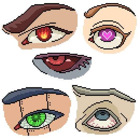 set of pixel art isolated fancy eye