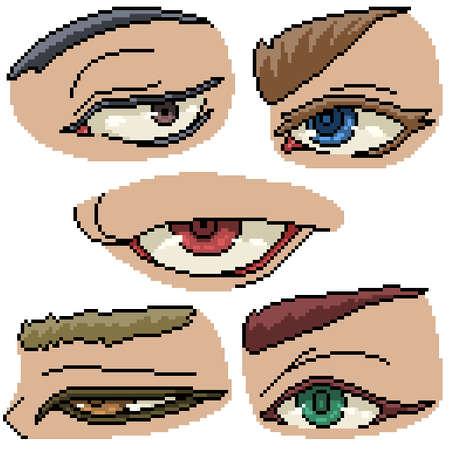 set of pixel art isolated eye personal