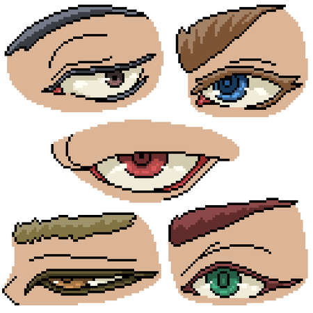 set of pixel art isolated eye personal