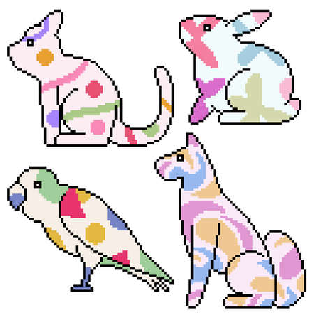 set of pixel art isolated pet with cute pattern 矢量图像