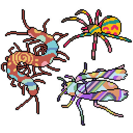 set of pixel art isolated insect with collorful pattern 矢量图像