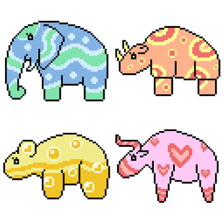 set of pixel art isolated cute patterned animal 矢量图像