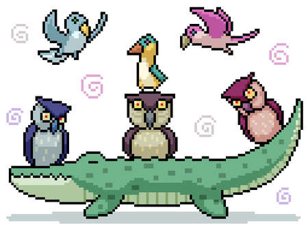 set of pixel art isolated friendly bird group Illustration