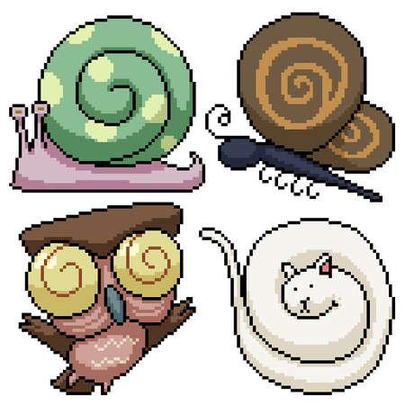 set of pixel art isolated animal with curling part