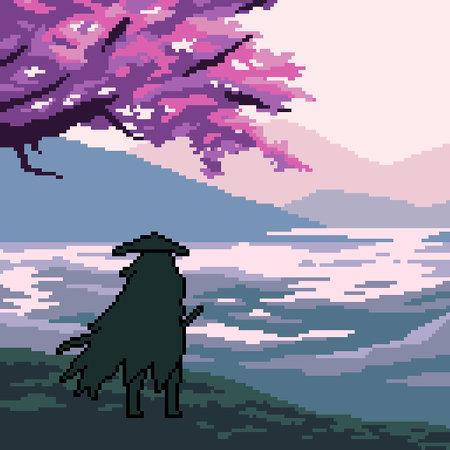 pixel art scene samurai traveler