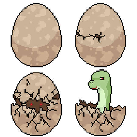 set of pixel art isolated dinosaur egg hatch