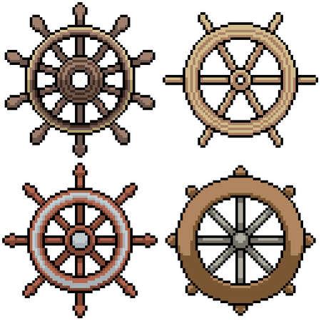 set of pixel art isolated steer wheel
