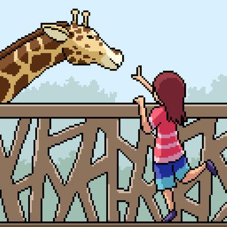pixel art scene kid play with giraffe