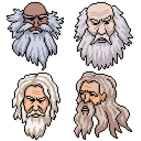 set of pixel art isolated old man with beard