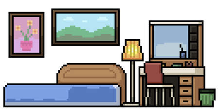 set of pixel art isolated house bedroom