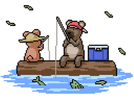 set of pixel art isolated bear fishing with friend