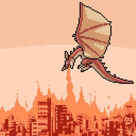 pixel art of dragon burning city
