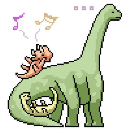 pixel art of dinosaur kid playing 矢量图像