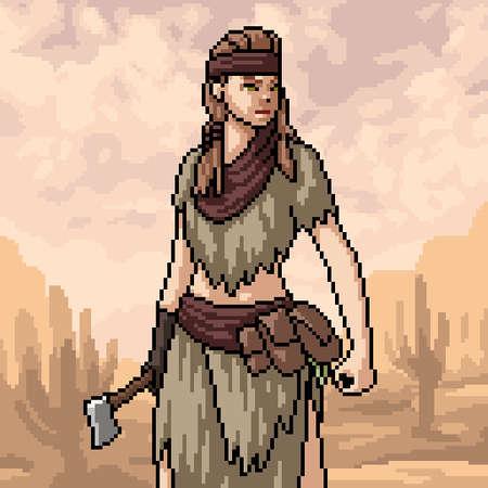 scene of pixel art primitive hunter