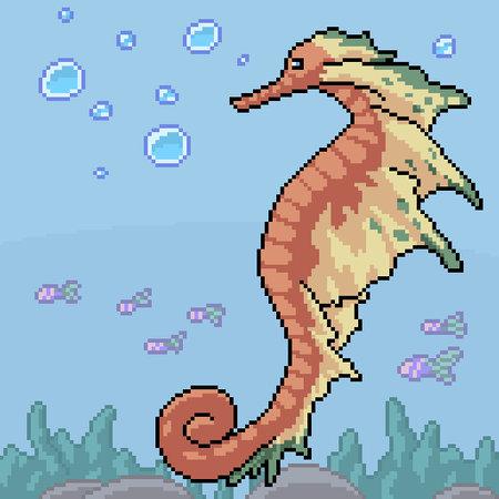pixel art of fantasy seahorse underwater