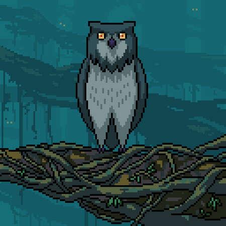 pixel art of owl standing on branch