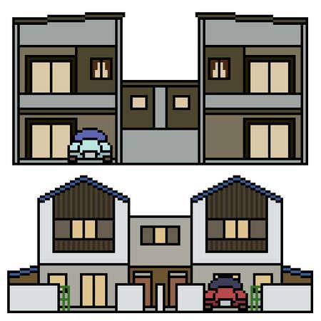 pixel art of modern tiwn house