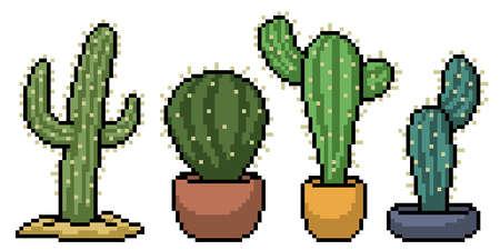 pixel art of cactus decoration set