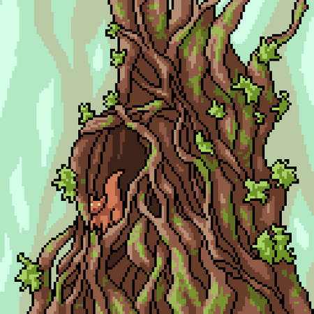 pixel art of squirrel tree house 矢量图像