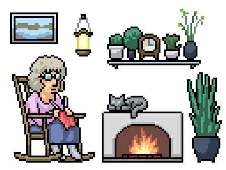 pixel art of grandma kniting relax 矢量图像
