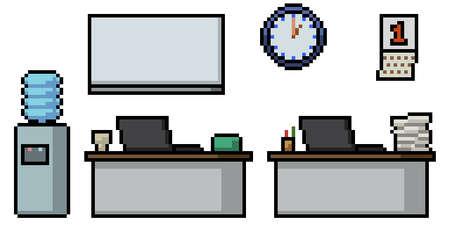 pixel art of office work room 矢量图像