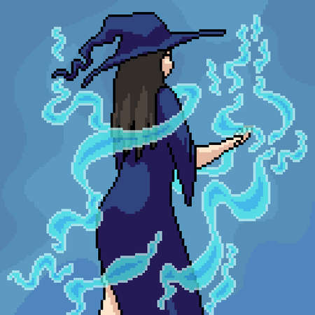 pixel art witch and magic 矢量图像