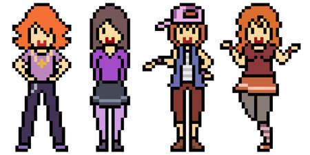 pixel art teenager group friend 矢量图像
