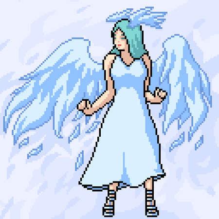 pixel art white angel pretty