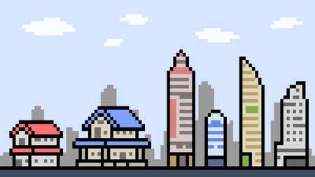 pixel art town building landscape