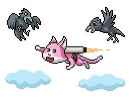 pixel art flying cat jet