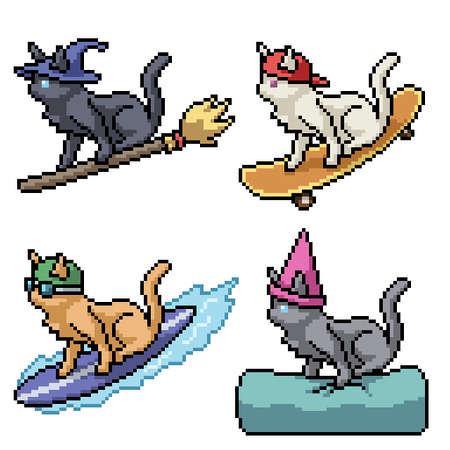 pixel art of fancy cat