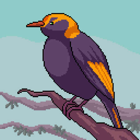 pixel art of small bird on branch 矢量图像