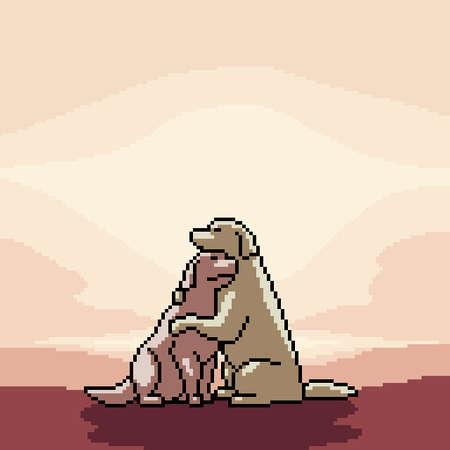 pixel art of romance dogs couple