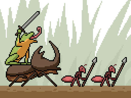 pixel art of insect battle squad