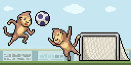 pixel art of monkey playing football 矢量图像