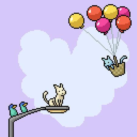 pixel art of romance cat couple