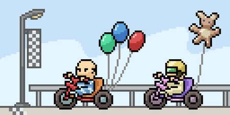 pixel art of baby racing Illustration