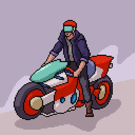 pixel art of cool biker man Illustration