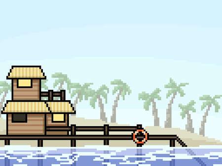 pixel art of vacation resort beach 矢量图像